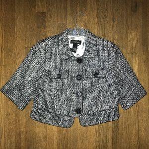 Crop Black & White Tweed Blazer
